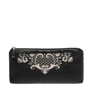 "Leather eyeglass case ""the Birth of spring"" in black with silver embroidery"