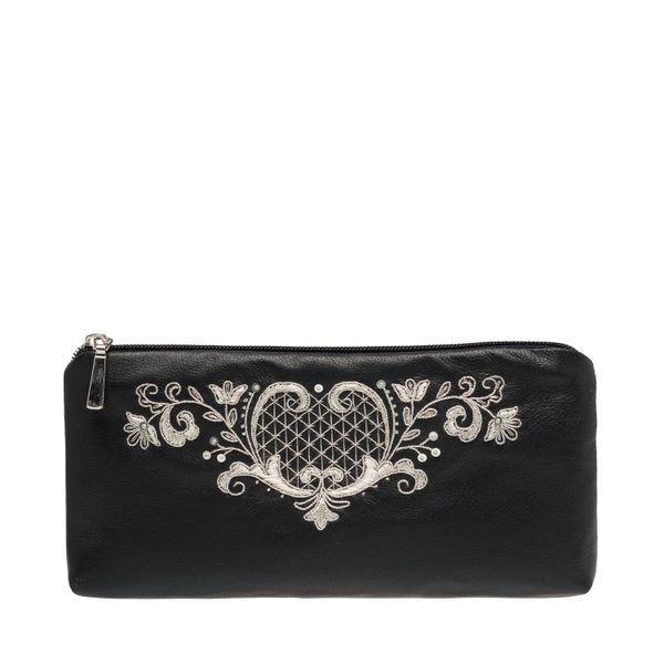Leather eyeglass case 'the Birth of spring' in black with silver embroidery