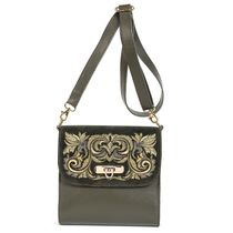 Leather bag 'Isabel' green with gold embroidery