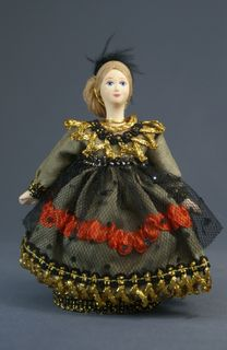 Doll gift porcelain. Box. Lady in costume. The middle of the 19th century.
