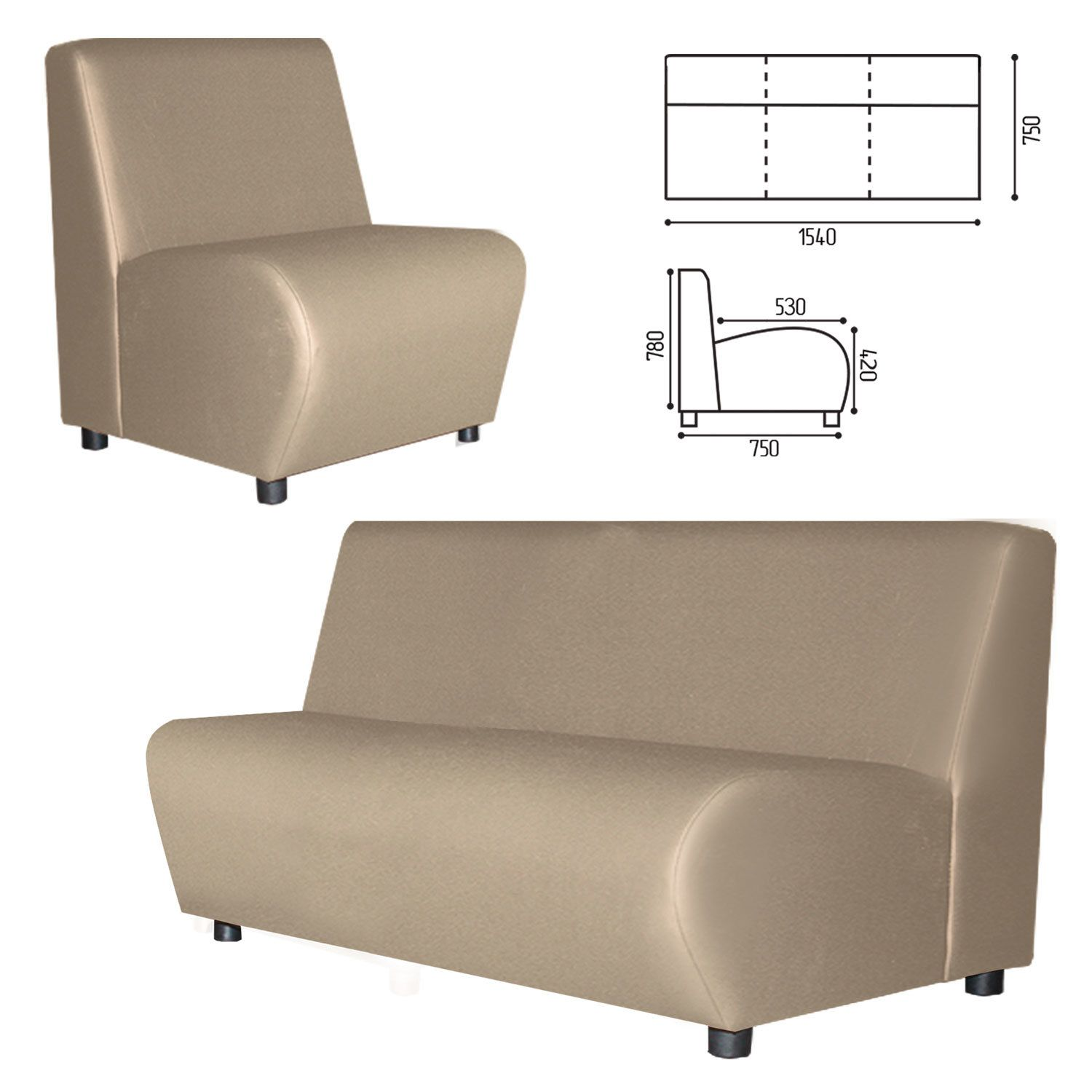 """GARTLEX / Sofa soft three-seater """"Cloud"""", """"V-600"""", 1540x750x780 mm, without armrests, eco-leather, beige"""