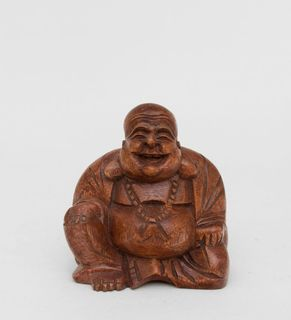 """The wooden statue """"Hotei"""" 16 cm"""