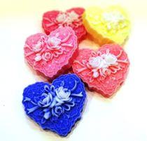 Handmade soap Heart with roses - mix of colors
