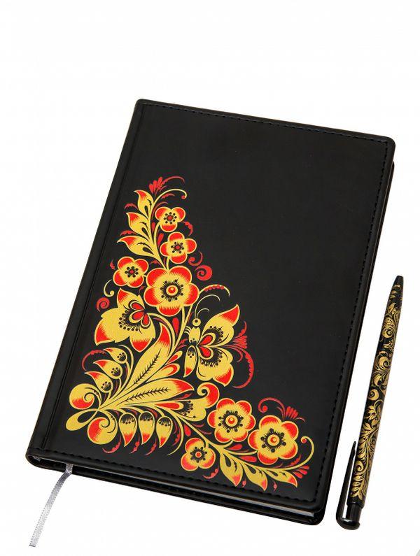 Khokhloma painting / Set of notebook and pen with Khokhloma painting