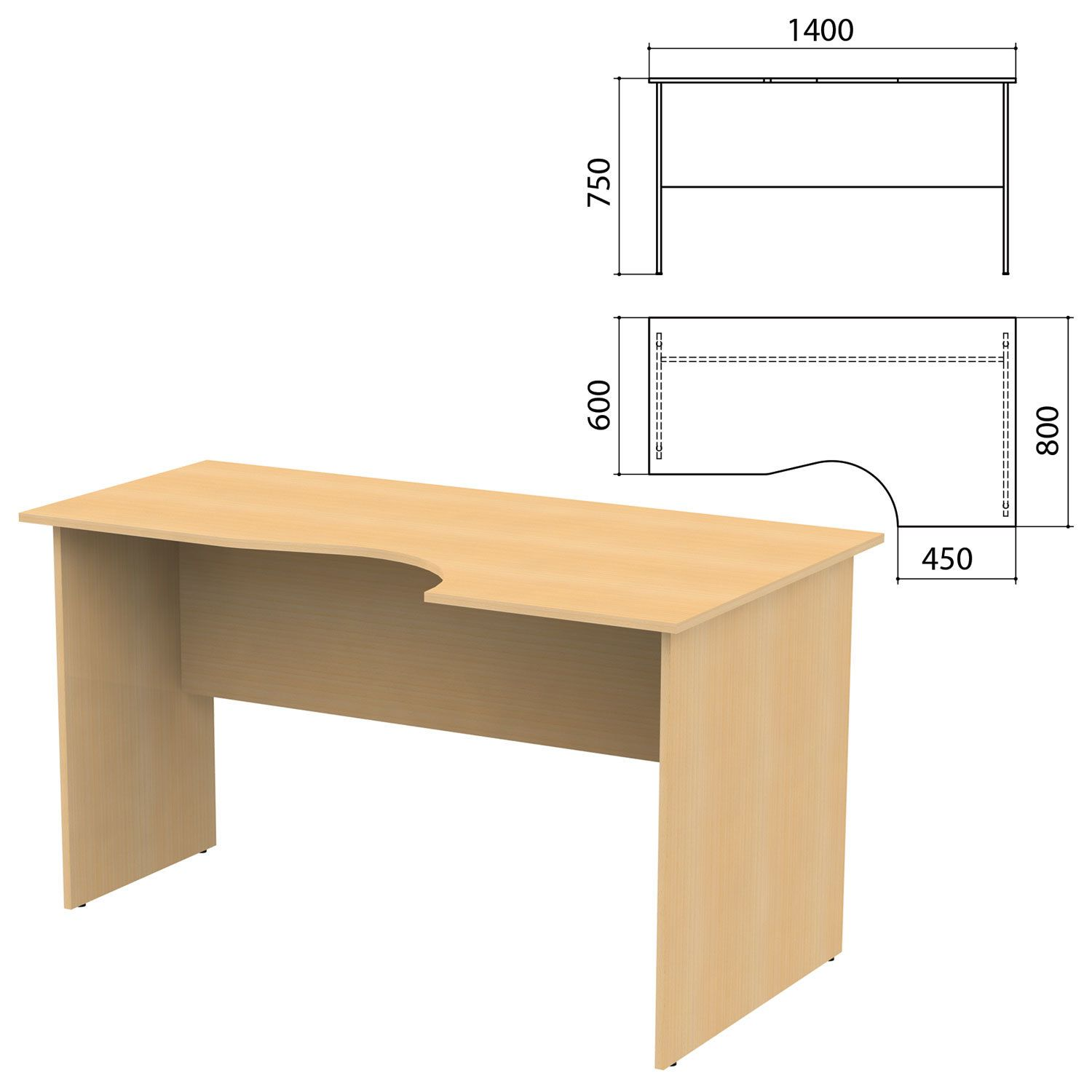 "Table written ergonomic ""Kanz,"" 1400 x800s750 mm, right, color beech Nevsky"