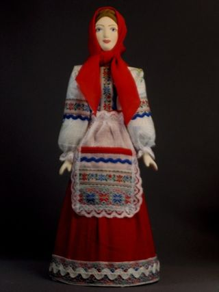 Doll gift porcelain. Southern Russia. Philistine maiden costume. The end of the 19th century.