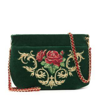 """Velvet bag """"Dolce Rose"""" emerald"""