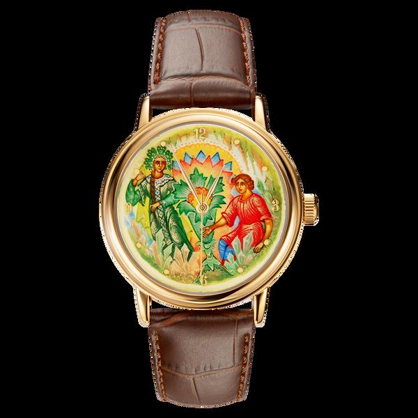 """Palekh watch """"The Stone Flower №23"""" quartz, hand-painted, artist Smirnov, braun band"""