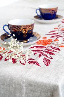 Tablecloth and 12 napkins Ryabina gray embroidery floss