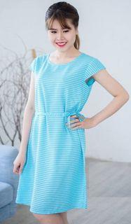 Blue striped summer dress
