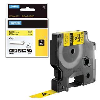 DYMO Rhino label printer cartridge, 12 mm x 5.5 m, vinyl tape, black font, yellow