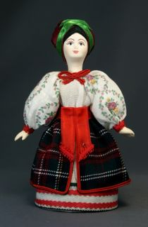 Doll gift porcelain. Ukrainian girl costume (styling).