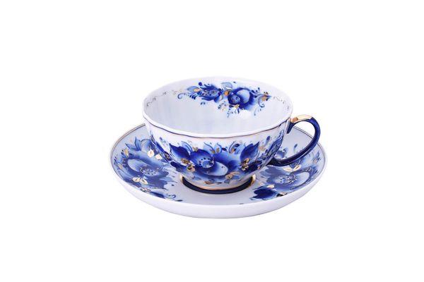 Dulevo porcelain / Tea cup and saucer set, 12 pcs., 275 ml White Swan Rose Gold