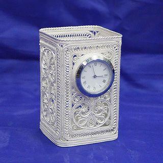 Square pencil case with clock