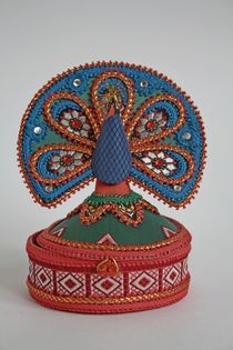 Peacock. Box. Textiles.