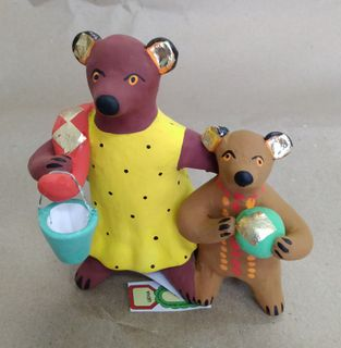 Dymkovo clay toy Bear with a cub