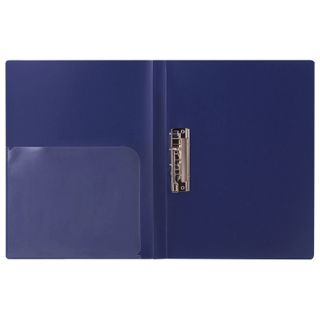 Folder with side metal clip and inside pocket BRAUBERG Diagonal, dark blue, 100 sheets 0.6 mm