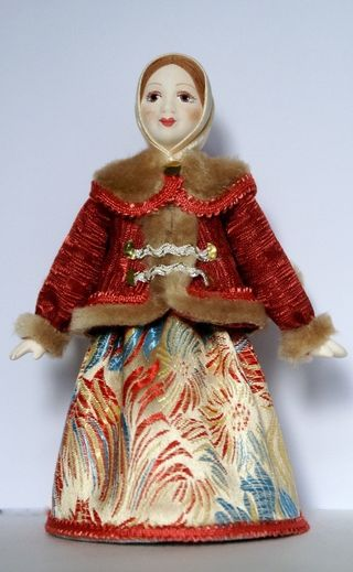 Doll gift porcelain. Russia. The girl in the coat. 18-19 century.
