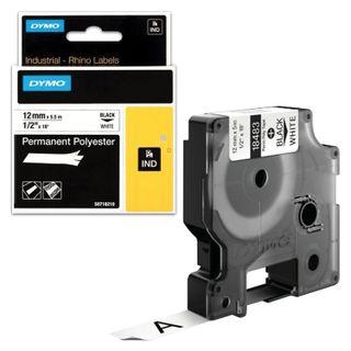 DYMO Rhino Label Printer Cartridge, 12mm x 5.5m, Polyester Ribbon, Extreme Temperature, Black Print, White