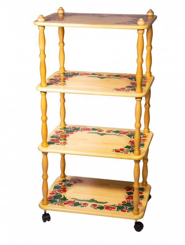 Khokhloma painting / Wooden shelf, 4 tiers 1143x600x450 mm