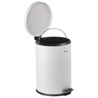 "LIMA / Trash bin (urn) with a pedal ""Classic"", 12 l, white, glossy, metal, with a removable inner bucket"