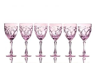 Set of crystal wine glasses pink 6 pieces