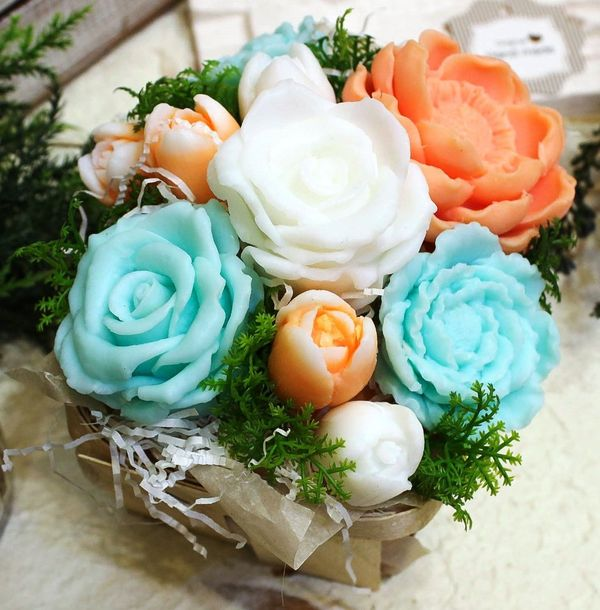 Bouquet of handmade soap in a basket of Peach-Turquoise