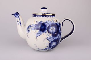 Dulevo porcelain / Teapot 1400 ml Amber Flowers Gold
