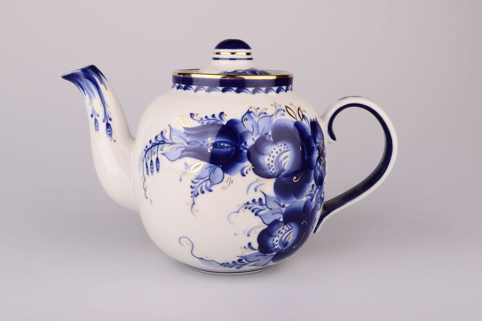 Dulevo porcelain / Teapot 1400 ml Amber Flowers Gold