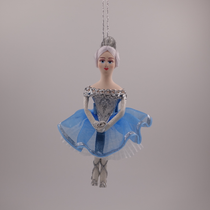 Christmas toy handmade farfara, Dancer in stage costume blue, 14 cm