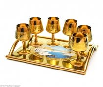 Gift wine set from zirconium 'TULIP' with a tray in a gift box of wood