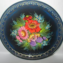 "Metal tray round ""Flowers ..."" 170 mm - exclusive painting on metal"