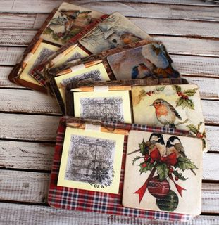 Souvenir fridge magnet with notepad Winter Birds mix