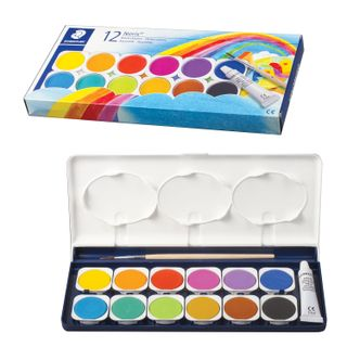 Watercolor STAEDTLER (Germany), 12 colors + white, with brush, plastic box