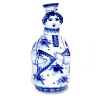 Bottle of Matrona 'Russian festivities' 0.5 l, Gzhel Porcelain factory