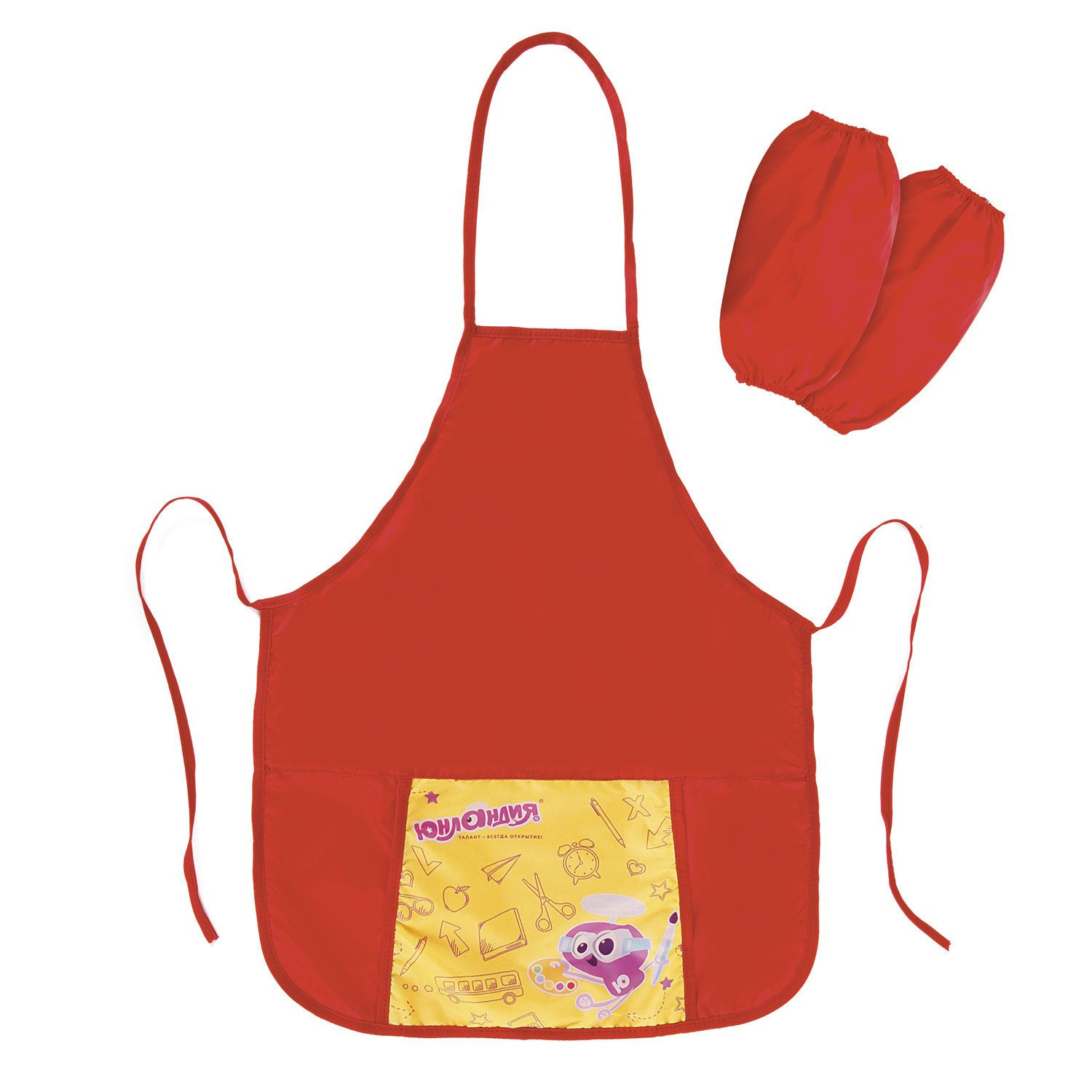 Apron for work and creative activities INLANDIA armbands, 44х55 cm, red