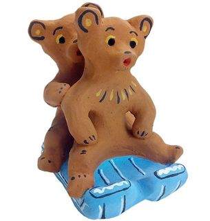 Two bears in a sleigh - kargopol souvenir