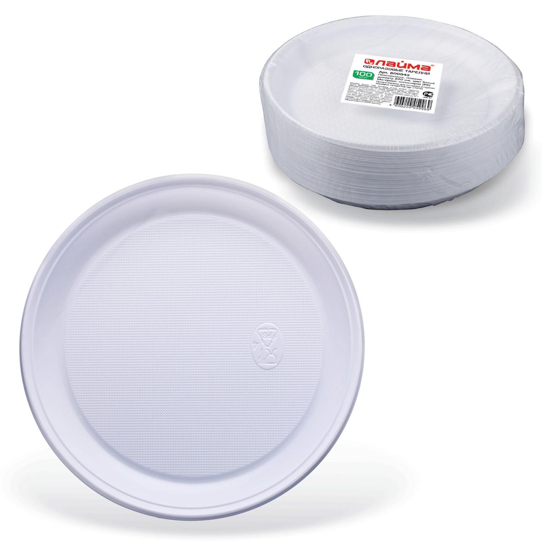 """LIMA / Disposable flat plates, SET 100 pcs., Plastic, d = 220 mm, """"BUDGET"""", white, PS, cold / hot"""