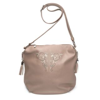Bag in eco-leather Sonata beige color with gold embroidery