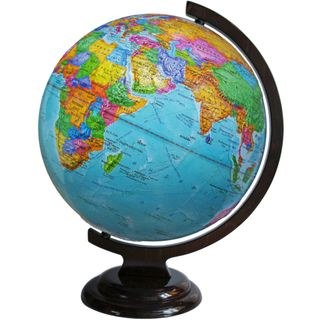 Political relief globe with a diameter of 320 mm on wooden stand