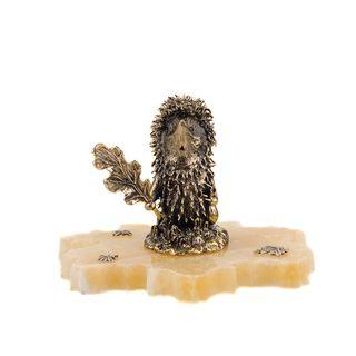 """Figurine """"Hedgehog"""" on a stone leaf"""