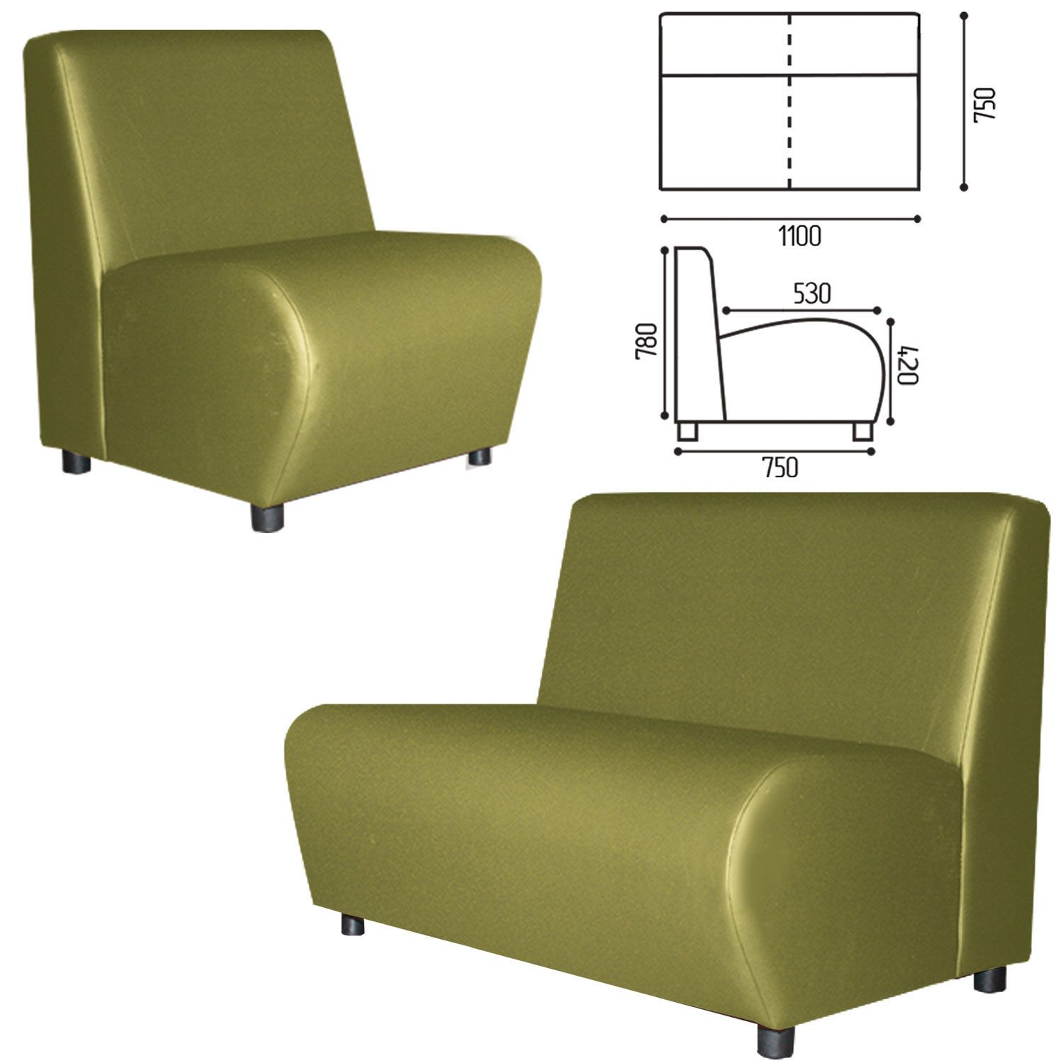 """GARTLEX / Sofa soft double """"Cloud"""", """"V-600"""", 1100x750x780 mm, without armrests, eco-leather, light green"""
