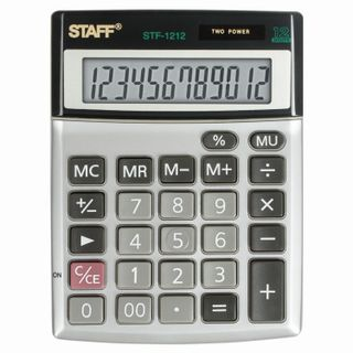 Desktop metal calculator STAFF STF-1212, COMPACT (140x105 mm), 12 digits, dual power supply