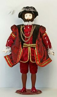 Doll gift porcelain. The costume of king Henry VIII. England. 1509-1547 G.