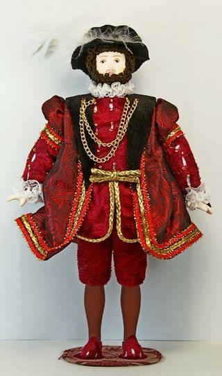 Doll gift porcelain. The costume of king Henry VIII. England. 1509-1547 G.