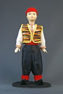 Doll gift porcelain. Crimea. Children's Tatar costume. Late 19th-early 20th century.