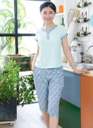 Women's pajamas in blue with a pattern