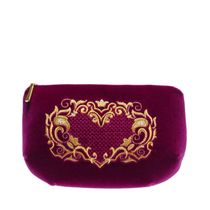 Velveteen zippered pouch with embroidered 'Victoria', Torzhokskiy seamstresses, lilac