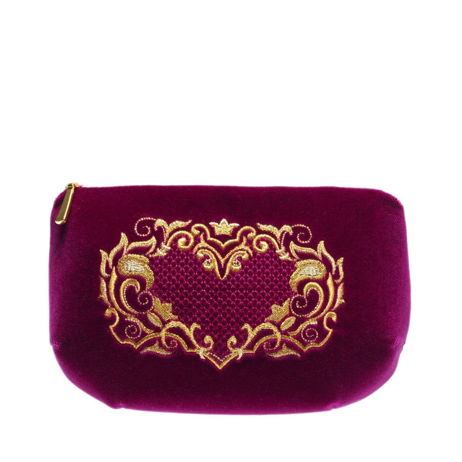 """Torzhok gold seamstresses / Velvet cosmetic bag with a zipper with embroidery """"Victoria"""" burgundy"""