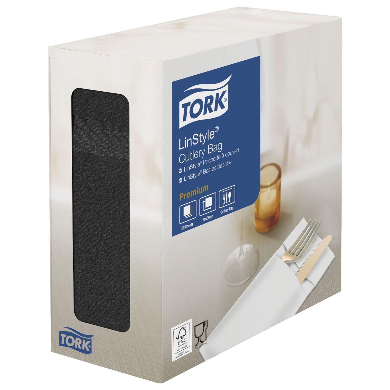 """TORK / Non-woven paper envelopes black for cutlery """"LinStyle Premium"""", 39x39 cm, 60 pcs."""